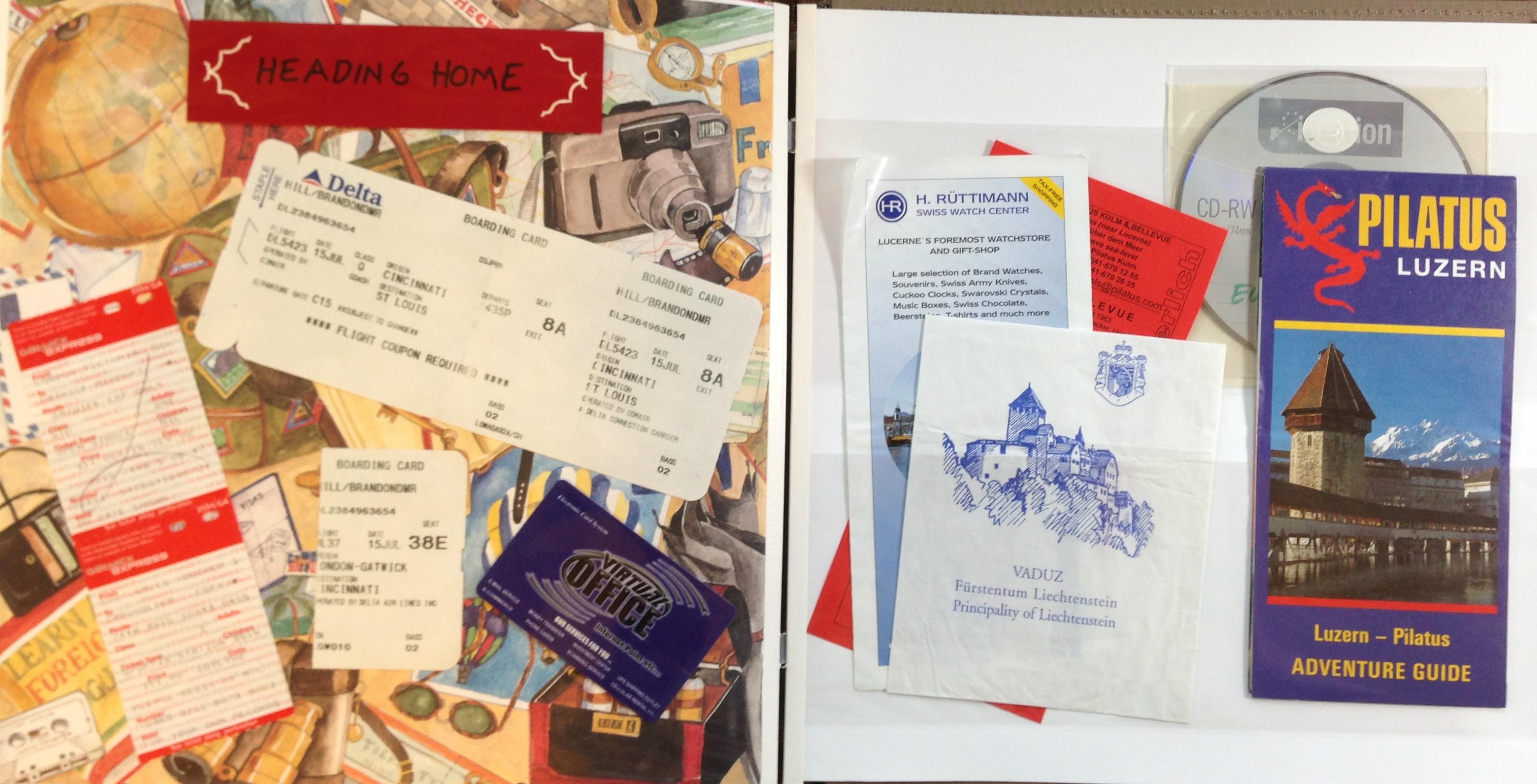 Europe scrapbook ideas - Europe Vacation Ephemera Page