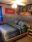 Teen Boy Room: Corrugated steel wainscoting, industrial, coke, copper