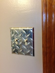 Teen Boy Room: industrial, diamond plate, light switch