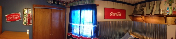 Teen Boy Room: panorama view, industrial, corrugated steel wainscoting, coke, signs, copper rail, bottle collection