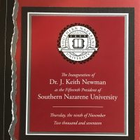 2017: Dr Keith Newman Inauguration - Southern Nazarene University
